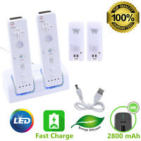 2 Rechargeable Battery + Dual Charger Charging Dock Station For Nintendo Wii