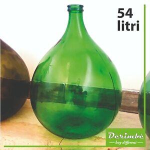Damigiana in vetro, vaso da terra, verde, arredamento, design, 54 litri, vintage
