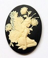 4 of 40x30 mm Cream over Black Princess Fairy or Angel Kneeling, Flowers Cameos