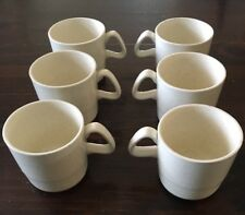 Vintage Speckled Ivory Cream Set of 6 Tea Cups Mugs ribbed ringed MCM stoneware