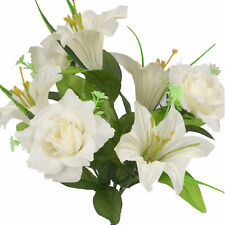 Artificial Silk Lilly Flowers for Wedding Valentines Memorial Graveside - White
