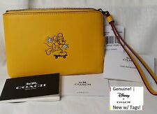Disney X COACH Mickey Mouse Calf Leather Corner Zip Wristlet Banana F59528 NWT!
