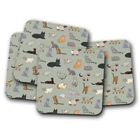 4 Set - Cute Cats Pattern Coaster - Kittens Cat Fun Daughter Auntie Gift #15305