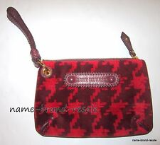 JUICY COUTURE Logo Red Houndstooth Velour Zip Clutch Wristlet Small Purse