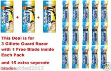 3 Gillette Guard Razor with blade cartridge +15 Extra Blades Cartridge Men Shave