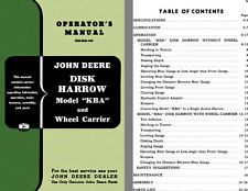 John Deere Disk Harrow Model KBA and Wheel Carrier Operators Manual OM-B42-356