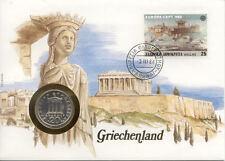 superbe enveloppe GRECE GREECE pièce monnaie 20 D 1982 neuve new unc timbre