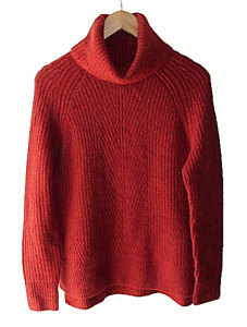 Madewell Size XS Rust Red Wool Blend Ribbed Chunky Knit Turtleneck Sweater