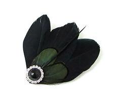 Negro Verde Oscuro Mujer Amherst Faisán Tocado Con Pluma Pasador Vintage 130