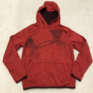Under Armour Boys Youth Extra Large Loose Hoodie Red UA Logo Cold Gear