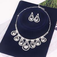 Hollow Waterdrop Rhinestone Earrings Necklace Wedding Bridal Jewelry Set GIL