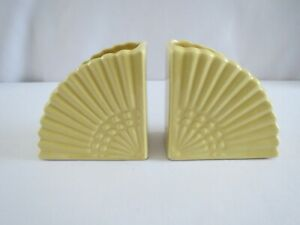 Vintage Yellow Pottery Fan / Bookend Planter Flower Pot  Lot of 2