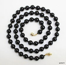 10mm Black Onyx Necklace 30 inches 10 mm black Onyx Lariat Hand Knotted Natural