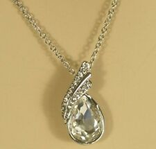 White Gold Pendant with Austrian Crystals 16 inch Necklace 18kgp
