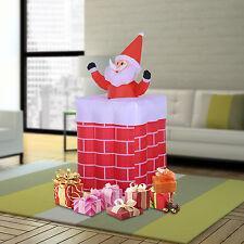 Inflable Airblown de Navidad HOMCOM Santa Claus decoración de chimenea 4 Luces Led