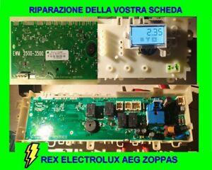 RIPARAZIONE SCHEDA LAVATRICE ASCIUGATRICE REX ELECTROLUX ZOPPAS AEG