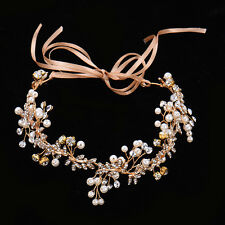 Bridal Gold Rhinestone Head Chain Wedding Jewelry Headband Head Piece Hair band