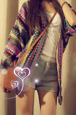 Fashion Retro Boho Ethnic Rainbow Weave Stripe Knit Sweater Cardigan Tops Coat L
