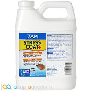 API Stress Coat 32oz De-Chlorinates Tap Water and De-Stresses Aquarium Fish