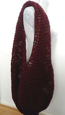 Handmade Crochet Yarn Knitting Shoulder Tote Bag Extra Large Burgundy