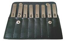 Game Day Shooting Peg Position finder in black leather wallet - shotgun pheasant