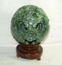 BIG 120mm, real natural green jade flower magic Puzzle Ball , revolving stand