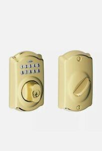 Schlage BE365-CAM Brass Camelot Electronic Keypad Single Cylinder Deadbolt