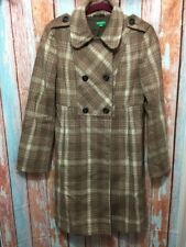 United Colors Of Benetton Women's BROWN Plaid Tweed Coat Sz EU 44 EUC