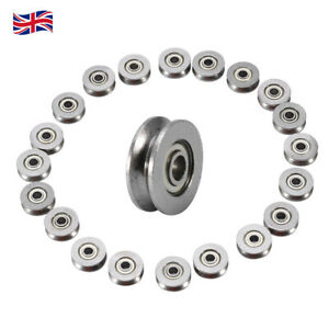 Set Of 20 Carbon Steel V Groove Sealed Guide Pulley Rail Ball Bearing 3x12x4mm