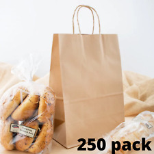 250 Pack Natural Brown Kraft Paper Bags With Handle 9 58 X 5 14 X 13 38