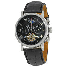 Lucien Piccard Ottoman Black Dial Automatic Leather Mens Watch 40012A-01-W