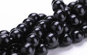 50 Jet Black Czech Glass Round Beads 8MM LIMITED