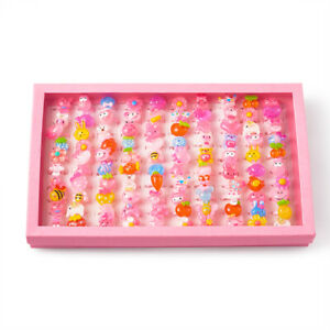 100pcs Colorful Cute Jewelry Plastic Kids Rings For Girls DIY Craft Making 14mm
