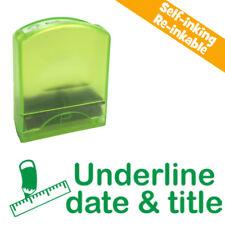 Underline date & title Self-inking Teacher Stamp. Green Ink. Reinkable School St