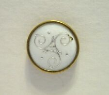 Small Vintage French Enamel Button White with Silver Scrolls