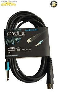 ProSound XLR Female To Mono 1/4 Inch Jack Cable 5 Meters RRP £29.99