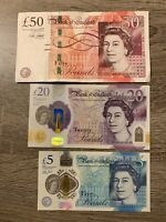 50 + 20 + 5 Great Britain pound Banknotes. 3  England Cir. 75 Pounds Total h
