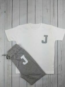 Personalised Varsity Shorts & T-shirt Set KIDS NAME INITIAL TODDLER BABY CUSTOM