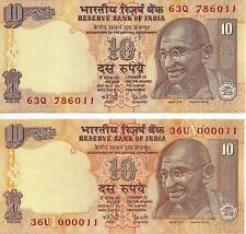 India Two 10 Rupees Unc. U Must See The Notes Numbers