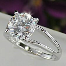 2 Carat Simulated Moissanite Ring_Size 7+3/4 18K White Gold On Silver Gleaming