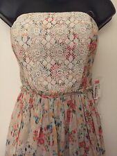 Teeze Me Strapless Lace Accent Watercolor Floral Lined Cotton Dress Size 5 NWT