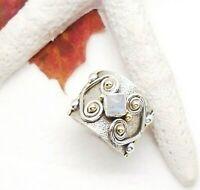 Mondstein weiß eckig gold Hippie Design Ring Ø 18,0 mm 925 Sterling Silber neu