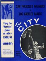 1968-69 NBA LOS ANGELES LAKERS vs. SAN FRANCISCO WARRIORS GAME PROGRAM UNSCORED