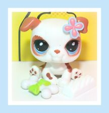 ��Authentic Littlest Pet Shop Lps #2106 White Brown Flower Bulldog Puppy Dog��