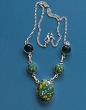 """Mosac Jasper, green mystic topaz 925 Sterling Silver Plated Necklace 18"""" sweet!!"""