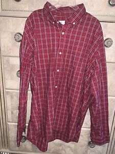 Gap Red Plaid Men's Dress Shirt XL- Standard fit- long sleeve - EUC