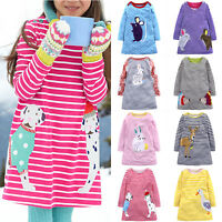 Kids Baby Girls Cartoon Nightwear Winter Striped Party Pageant Dress Clothes Top