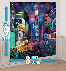 TIMES SQUARE HAPPY NEW YEAR EVE Scene Setter party Backdrop 8x9' NEW YORK ball