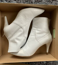 295$ New Free People Leather Lizard-embossed Willa Ankle Boot White