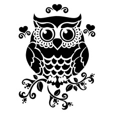 OWL FLEXIBLE 190 mm MYLAR RE USEABLE STENCIL - A5 - IMAGE APPROX 14cm x 11cm